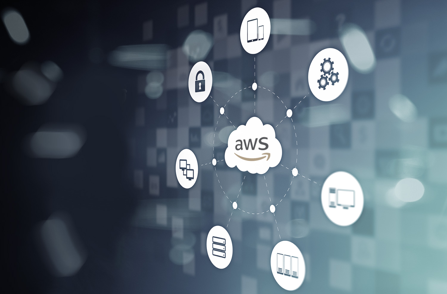 AWS icon in cloud surrounded by web icons